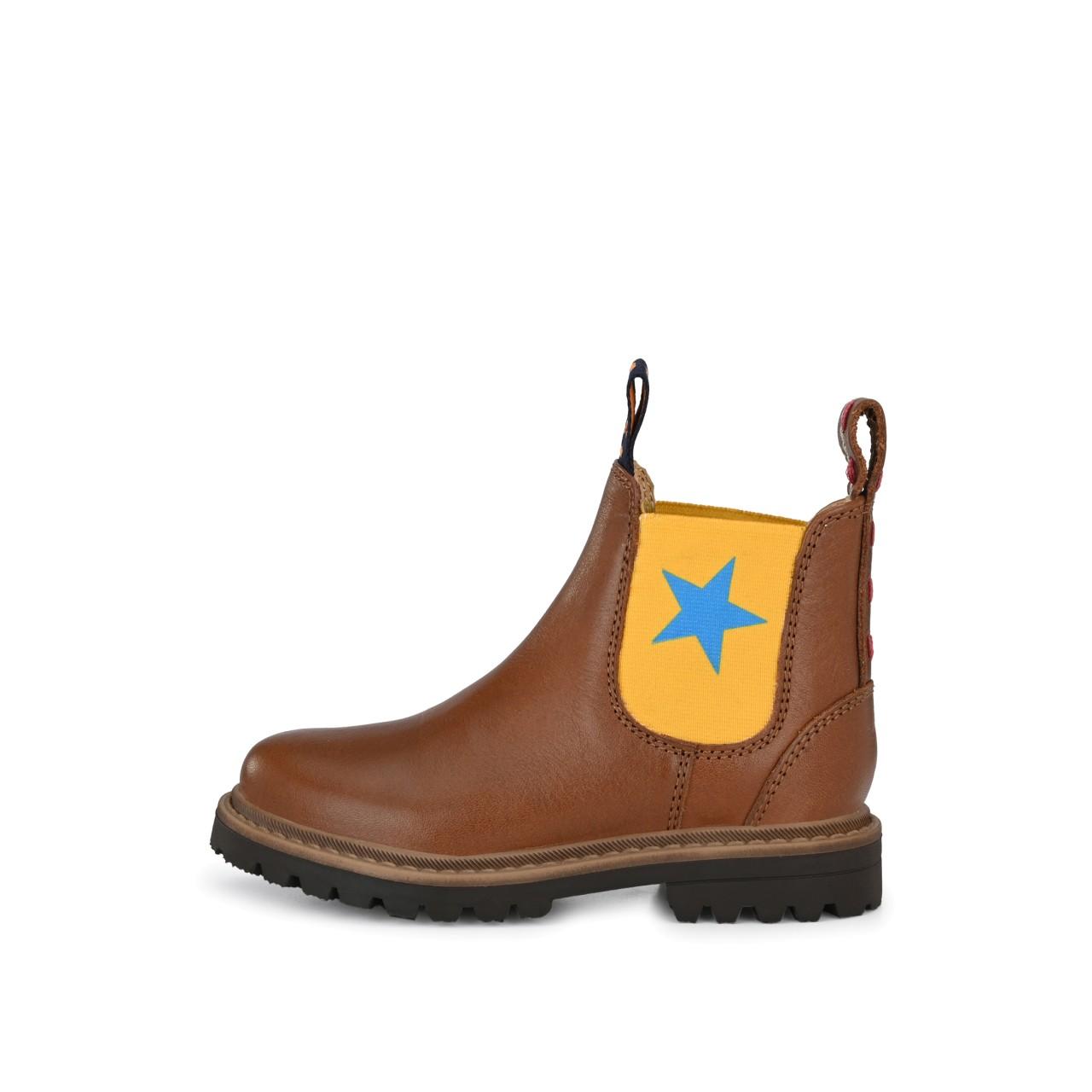 RILEY Cognac mit Gelb und großem blauen Stern
