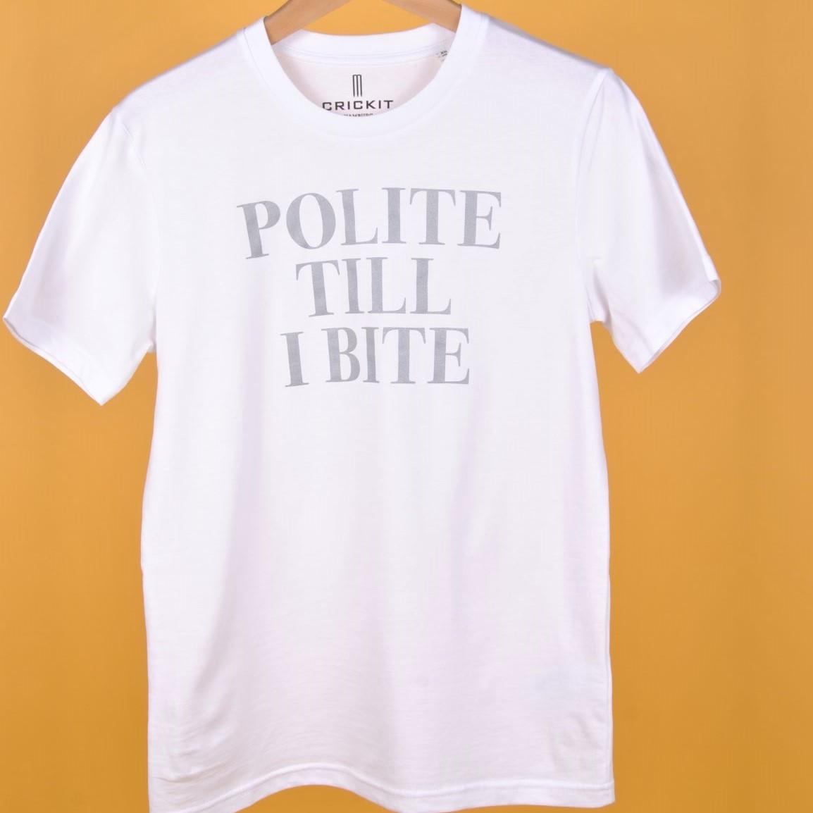 """JODIE T-Shirt Weiss """"Polite Till I Bite"""" Silber"""