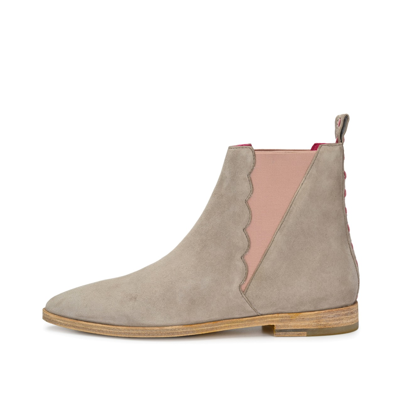 HOLLY Suede Taupe mit Altrosa