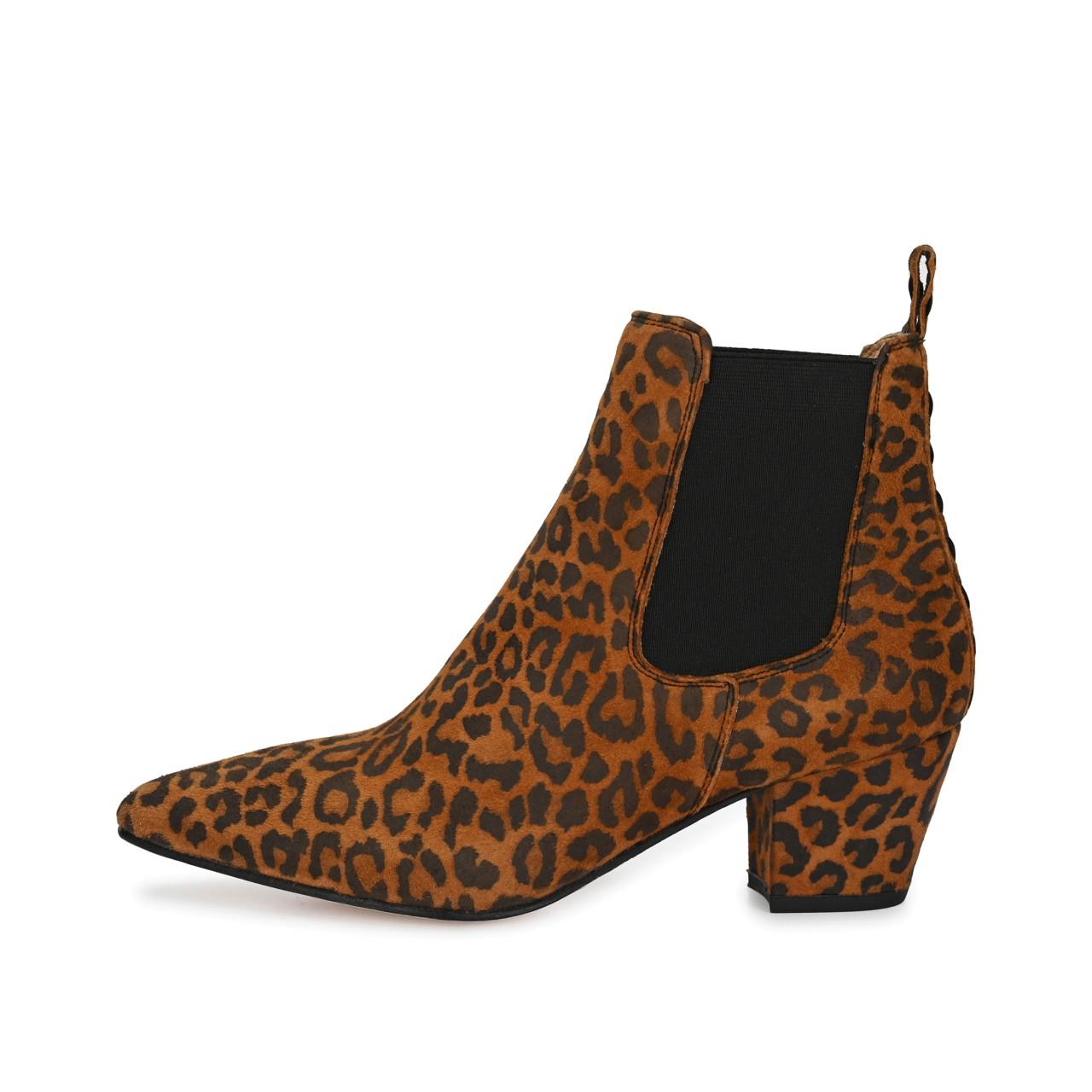 COLLIEN Suede Cognac mit Leopard